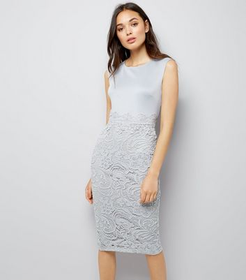 AX Paris Grey Lace Skirt Midi Dress