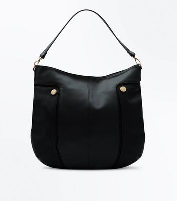 Black Round Studded Hobo Bag
