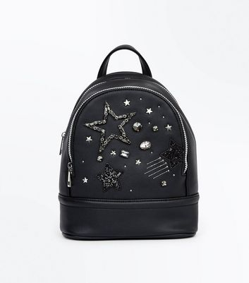 Black Star Embellished Mini Backpack