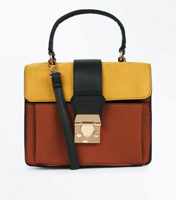 Orange Colour Block Top Handle Bag