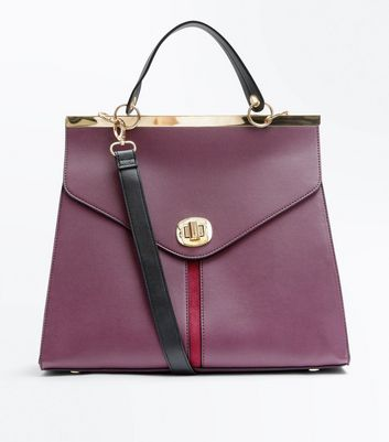 Burgundy Suedette Stripe Top Handle Bag