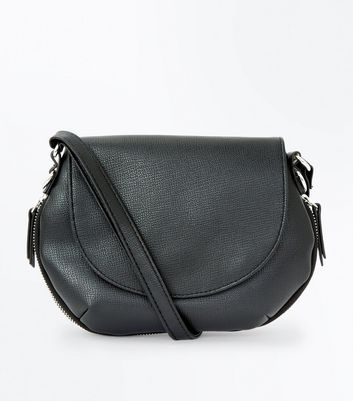 Black Zip Trim Saddle Bag