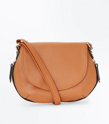Tan Zip Trim Saddle Bag