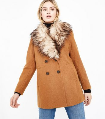 Tan Faux Fur Collar Double Breasted Coat