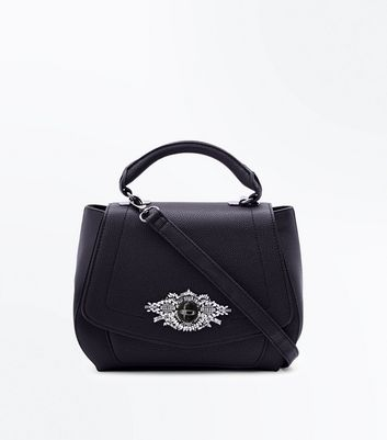Black Diamante Front Top Handle Bag