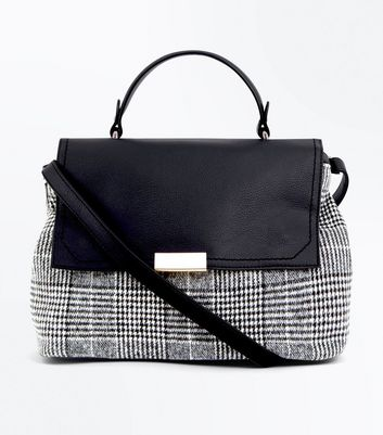 Black Check Pattern Satchel