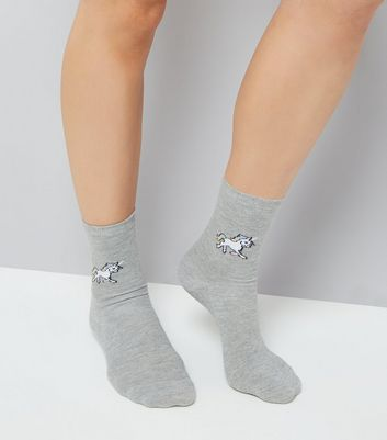 Grey Unicorn Print Socks