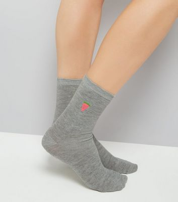 Grey Embroidered Melon Socks