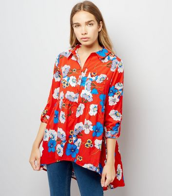 Influence Red Floral Print Blouse