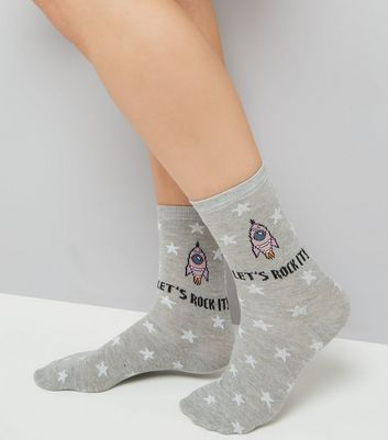 "Graue Socken ""Let's rock it"""