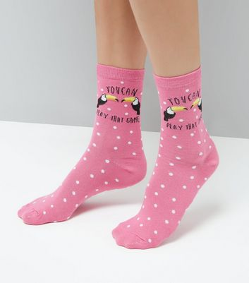 Pink 'Toucan play that game' Slogan Pattern Socks