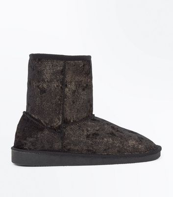 Teens Black Glitter Velvet Faux Fur Trim Boots
