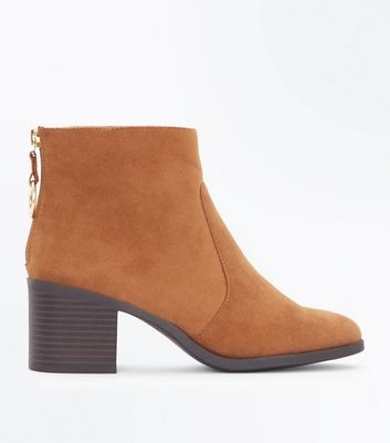 Teens Tan Suedette Ring Ankle Boots