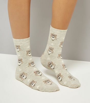 Cream Owl Print Socks
