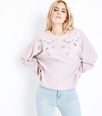 Pink Embroidered Lace Front Jumper