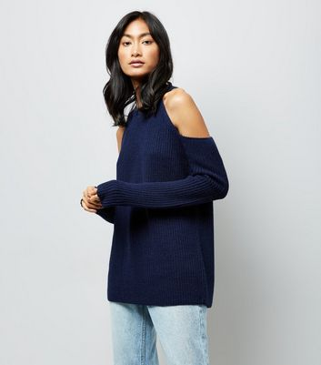 Navy Blue Ribbed Cold Shoulder Jumper