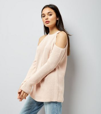 Pink Ribbed Cold Shoulder Jumper