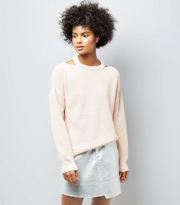 Shell Pink Cut Out Neck Jumper
