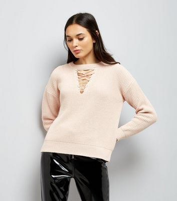 Shell Pink Lattice Choker Neck Jumper