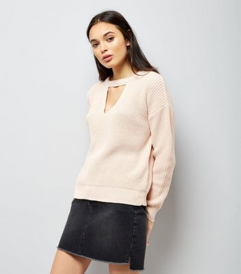 Shell Pink Choker Neck Jumper