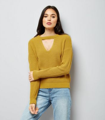 Mustard Yellow Ribbed Choker Neck Jumper