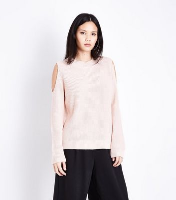Pink Notch Cold Shoulder Jumper