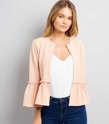 Cameo Rose Shell Pink Frill Hem Jacket