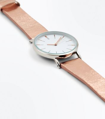 Rose Gold Metallic Strap Watch