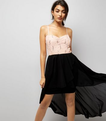 Cameo Rose Black Sequin Drop Hem Dress