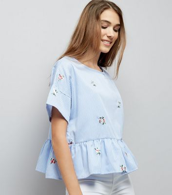 Cameo Rose Blue Stripe Floral Embroidered Top