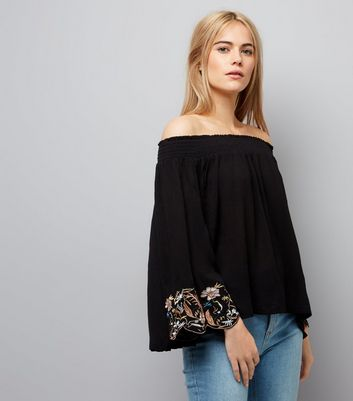 Cameo Rose Black Embroidered Sleeve Bardot Neck Top