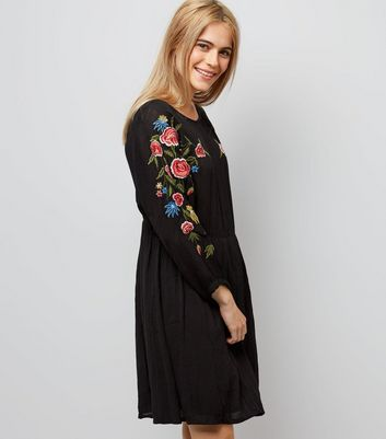 Black Floral Embroidered Sleeve Dress