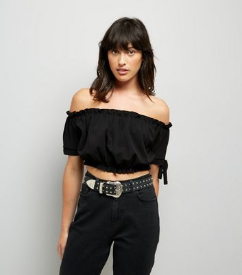 Cameo Rose Black Bardot Neckline Crop Top