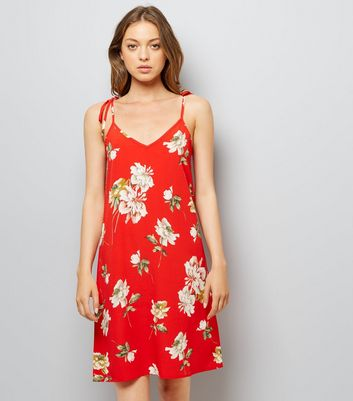 Cameo Rose Red Floral Print Tie Strap Dress