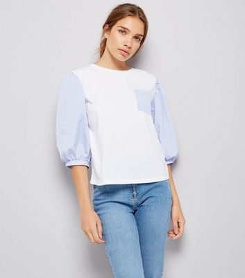Cameo Rose White Contrast Puffed Sleeve Top