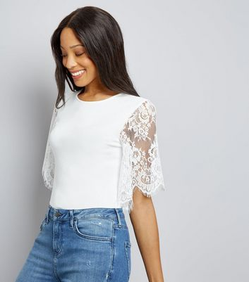 White Lace Sleeve T-Shirt