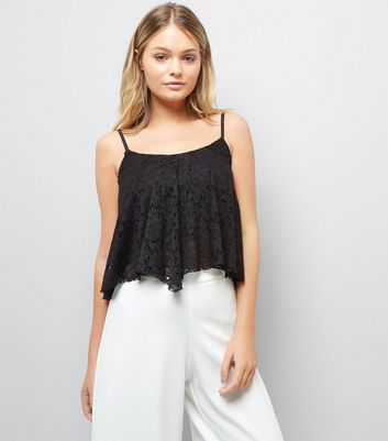 Black Lace Hanky Hem Crop Top