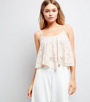 Shell Pink Lace Hanky Hem Crop Top