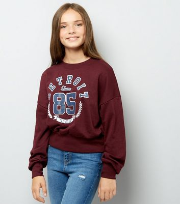 Teens Burgundy Detroit Sweater