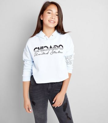 Pale Blue Chicago Embroidered Slogan Hoodie