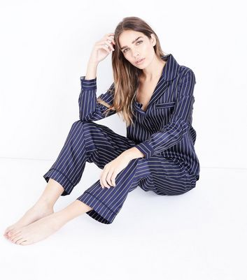 Blue Stripe Satin Pyjama Bottoms