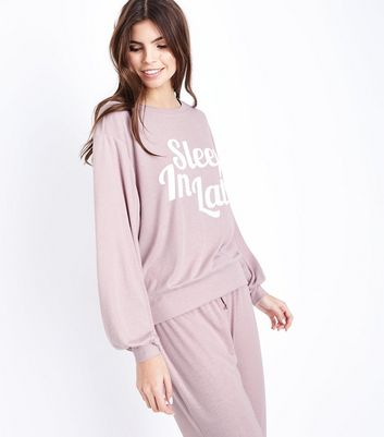 Mid Pink Sleep In Late Slogan Front Pyjama Top