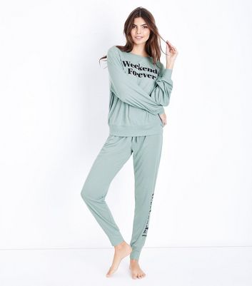 Blue Weekends Forever Slogan Pyjama Joggers
