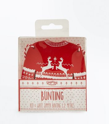 Red and White Christmas Jumper Bunting