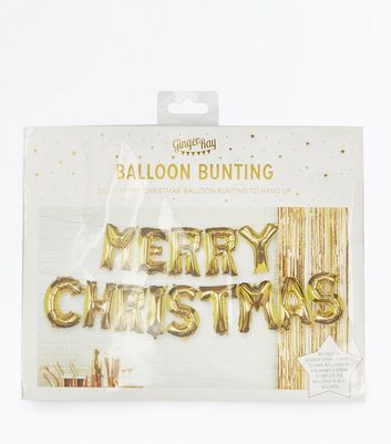 Gold Merry Christmas Balloon Bunting