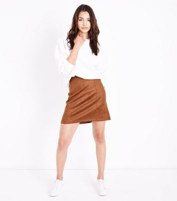 Tall Tan Suedette A-Line Mini Skirt