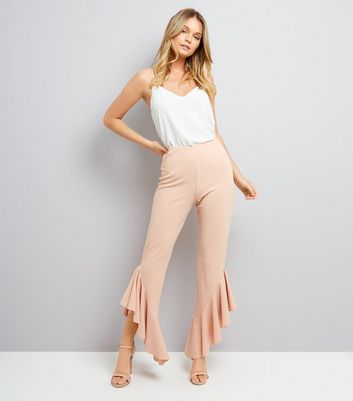 Cameo Rose Shell Pink Frill Hem Trousers
