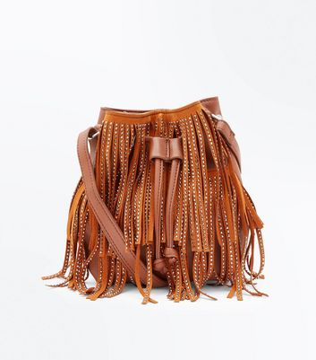 Tan Fringe Embellished Duffle Shoulder Bag