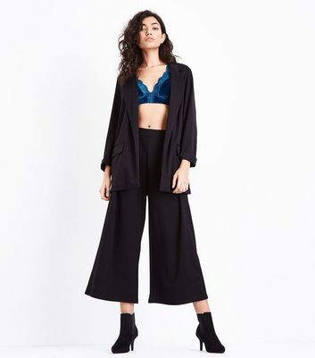 Black Stretch Cropped Trousers