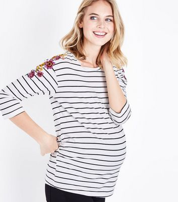 Maternity Black Stripe Floral Embroidered T-Shirt